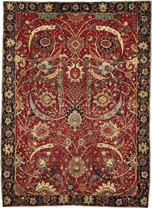 Lot 12 The Clark 'Sickle-Leaf' vine scroll and palmette carpet, probably Kirman, South Persia, 17th century, approximately 8ft. 9in. by 6ft. 5in. (2.67 by 1.96m.) from the Collection of William A. Clark on behalf of the Corcoran Gallery of Art.  Est. $5/7 million, sold for $33,765,00 at auction. Peter Pap was bidding on behalf of the under bidder - a US collector. This auction demonstrated that classical caprets can start to achieve the same prices as fine art.
