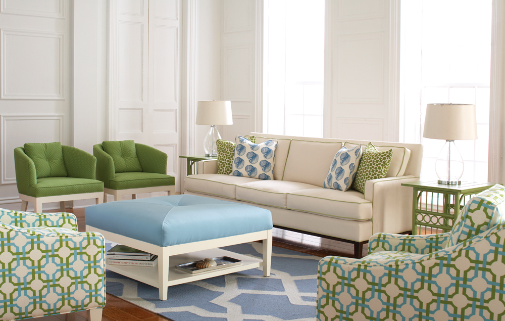 Libby Langdon Ocean Road Design: Libby Langdon Andrews Sofa, Dresden Chairs, Jermain Chairs, Taylor Ottoman and Rock + Scroll Tiger Rug.