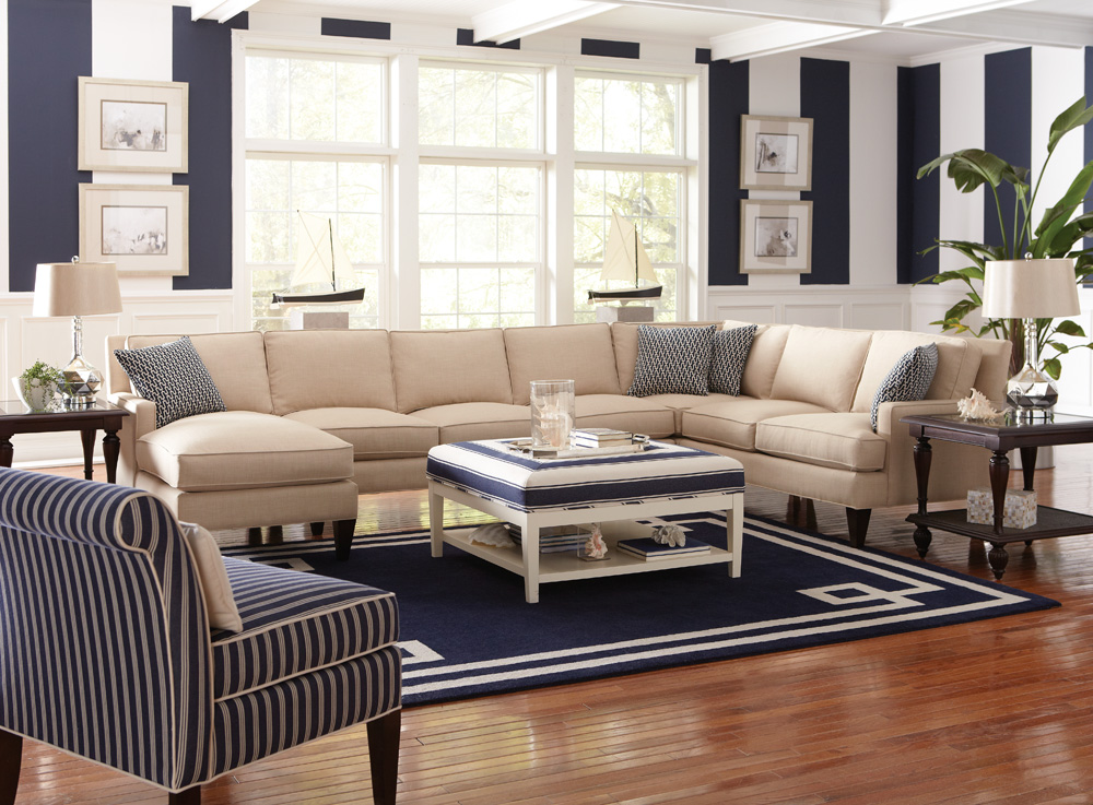 Libby Langdon East End Design. Libby Langdon Latham Sectional, Chatfield Chair and Taylor Ottoman and Fancy Fretwork Rug.