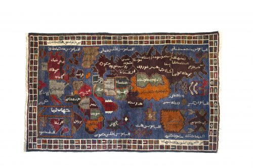World Map Rug Knotted wool, Western Afghanistan Acquired in Peshawar , 1989