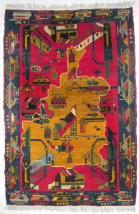 War Rug with Map of Afghanistan (and Kalashnikovs) Knotted wool, Baghlan (Afghanistan) Acquired in Peshawar , 1998