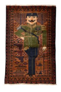 Portrait Rug (Amanullah Khan) with Armaments Knotted wool, Afghanistan