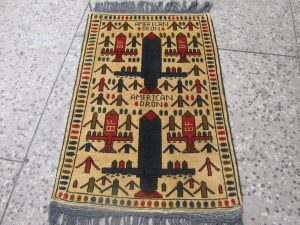 Drone Rug, 2015 Knotted wool, Pakistan refugee camp Acquired from Peshawar (Pakistan), 2016