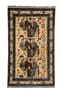 Rug with Militarized Geisha Knotted wool, Afghanistan Acquired in Peshawar 1994